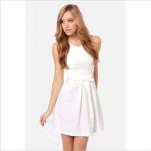Lulu's Dresses - Lulu's Hot off the Press Ivory Bow Dress